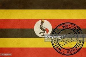 Welcome TO Uganda Flag With Passport Stamp stock vectors.