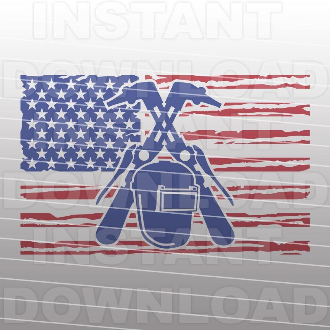 Welder Welding American USA Flag SVG File Vector Clipart for.