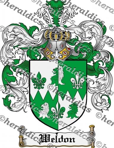 Weldon Coat of Arms Weldon Family Crest Instant Download.