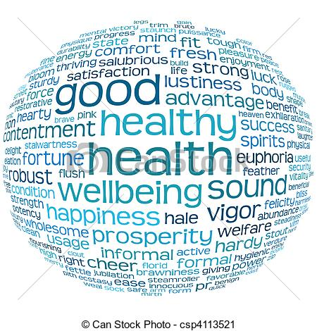 Clipart of good health and wellbeing tag cloud.