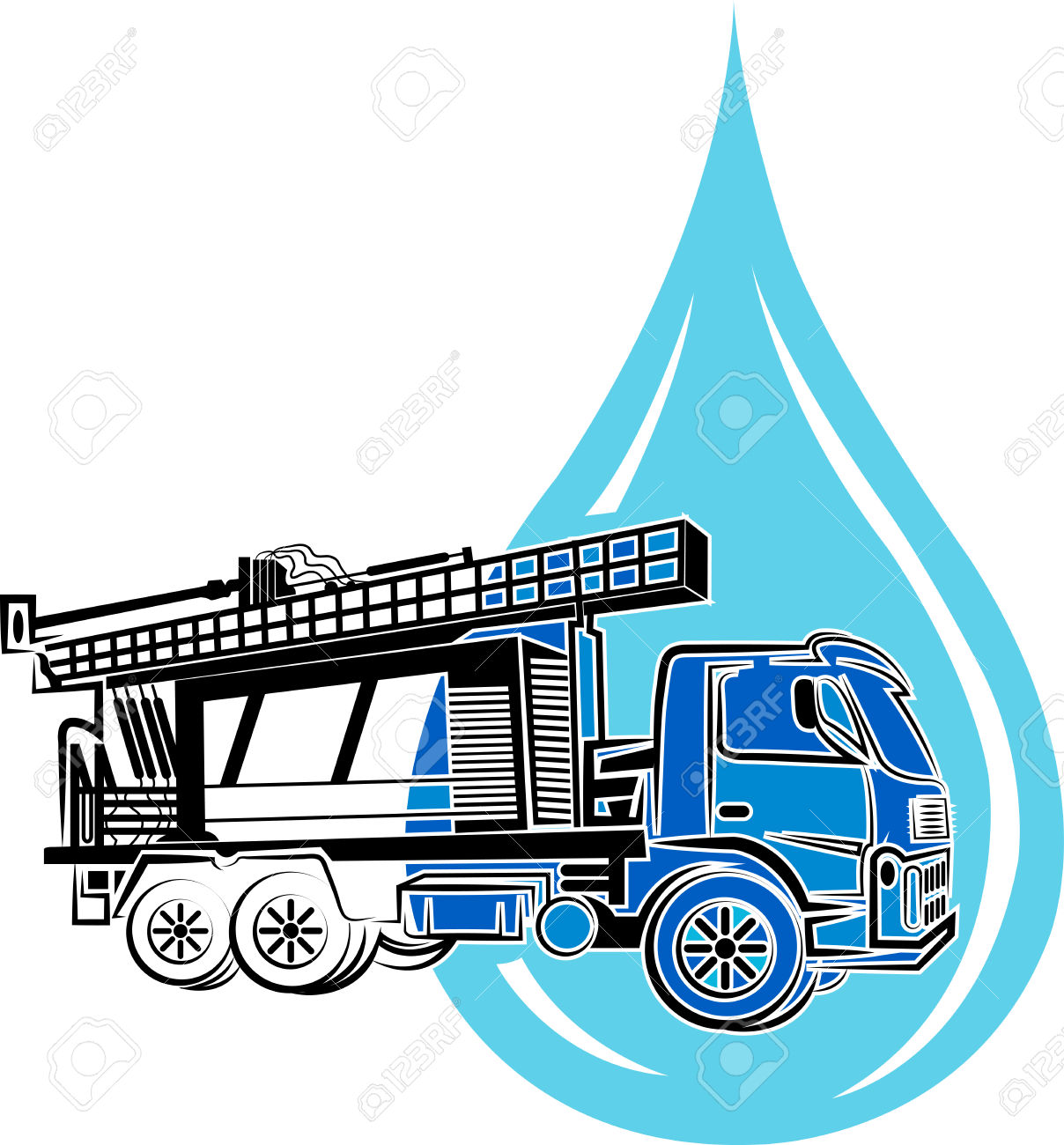 Water Well Drilling Truck Clipart.
