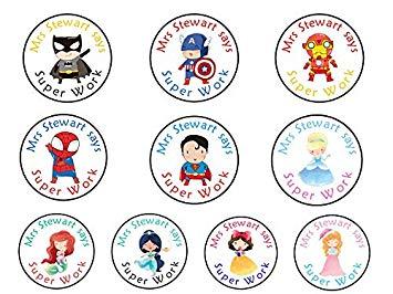 Five Star Party Supplies GLOSS Personalised Teacher Reward Well Done  Stickers Superheros Batman, Spiderman, Superman, Captain America, Iron Man,.