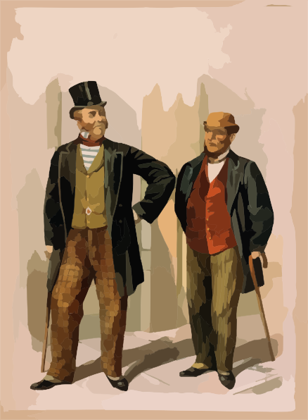 two Well Dressed Men With Canes, Standing On Sidewalk.