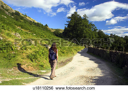 Stock Images of England, Cumbria, Patterdale, A female hiker.