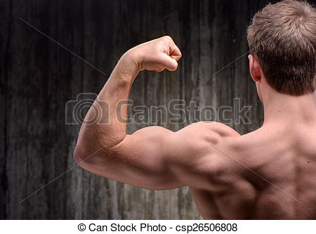 Stock Photography of Back view of well formed man demonstrating.