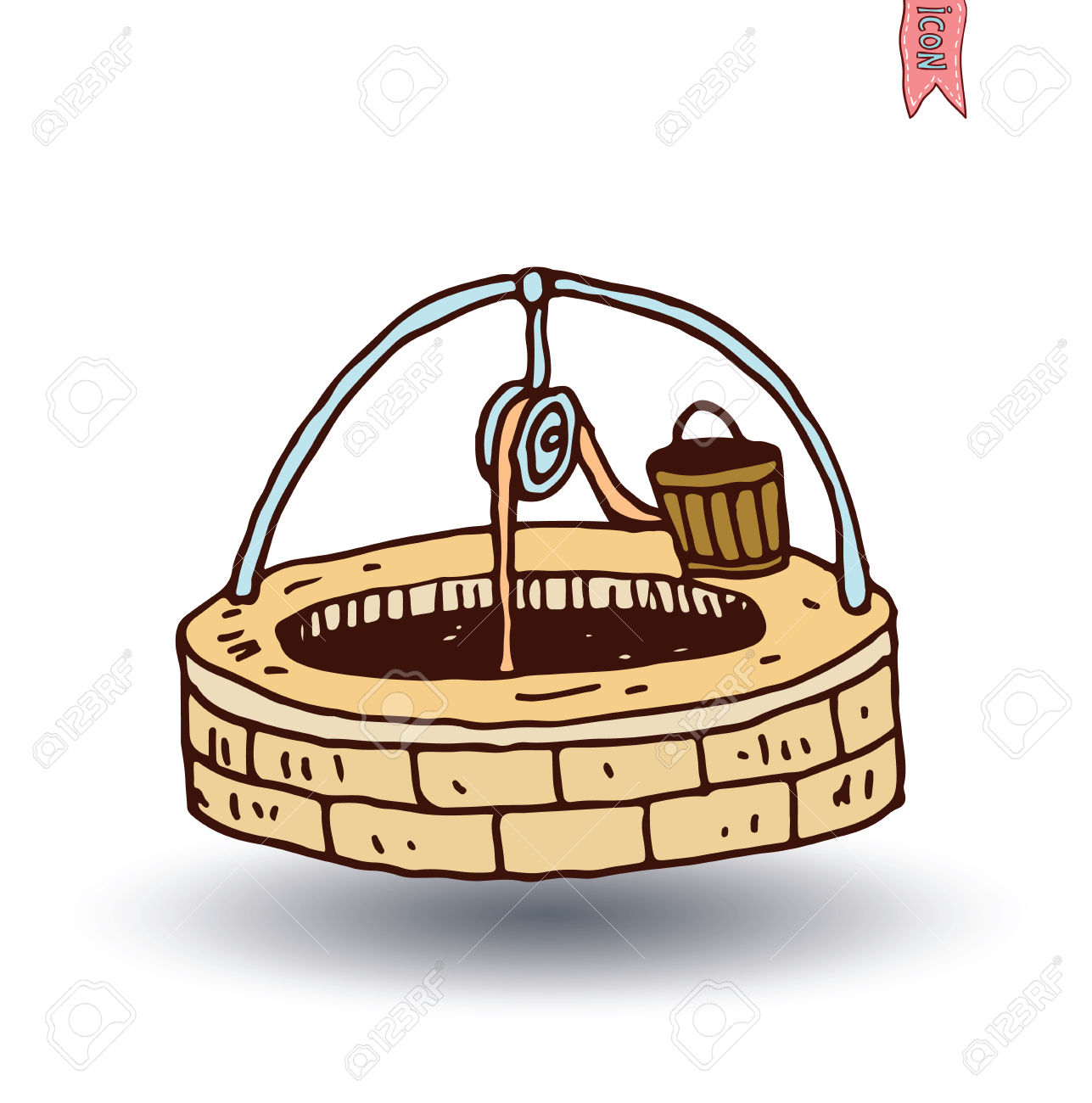 Water Well And Bucket, Vector Illustration. Royalty Free Cliparts.