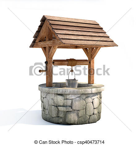 Clipart of water well 3d illustration on white background.