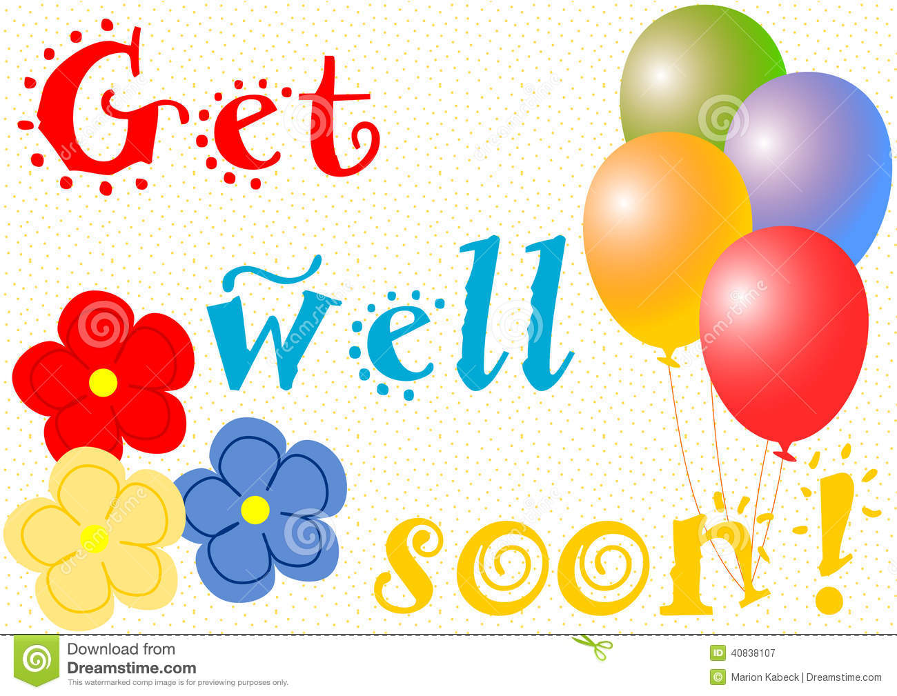 Get Well Soon With Balloons And Flowers Stock Illustration.