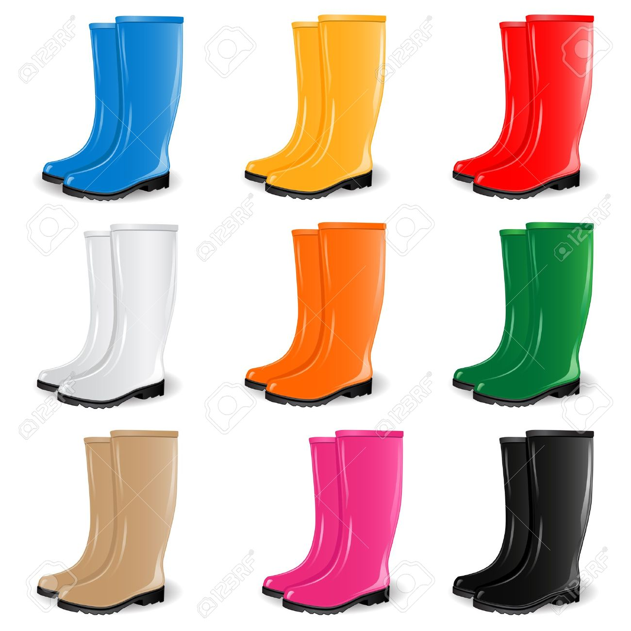 Yellow rain boot clip art