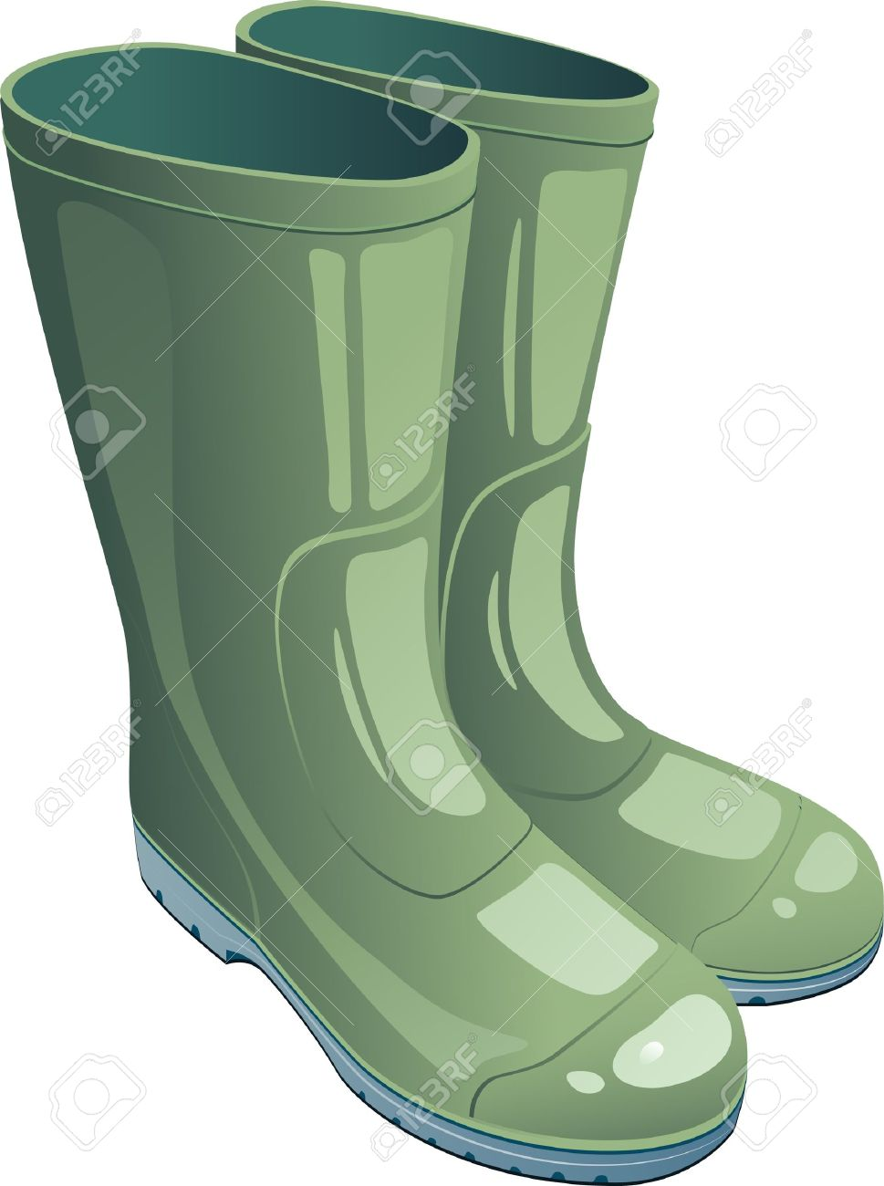 Green Rubber Boots Over White. EPS 8 Royalty Free Cliparts.
