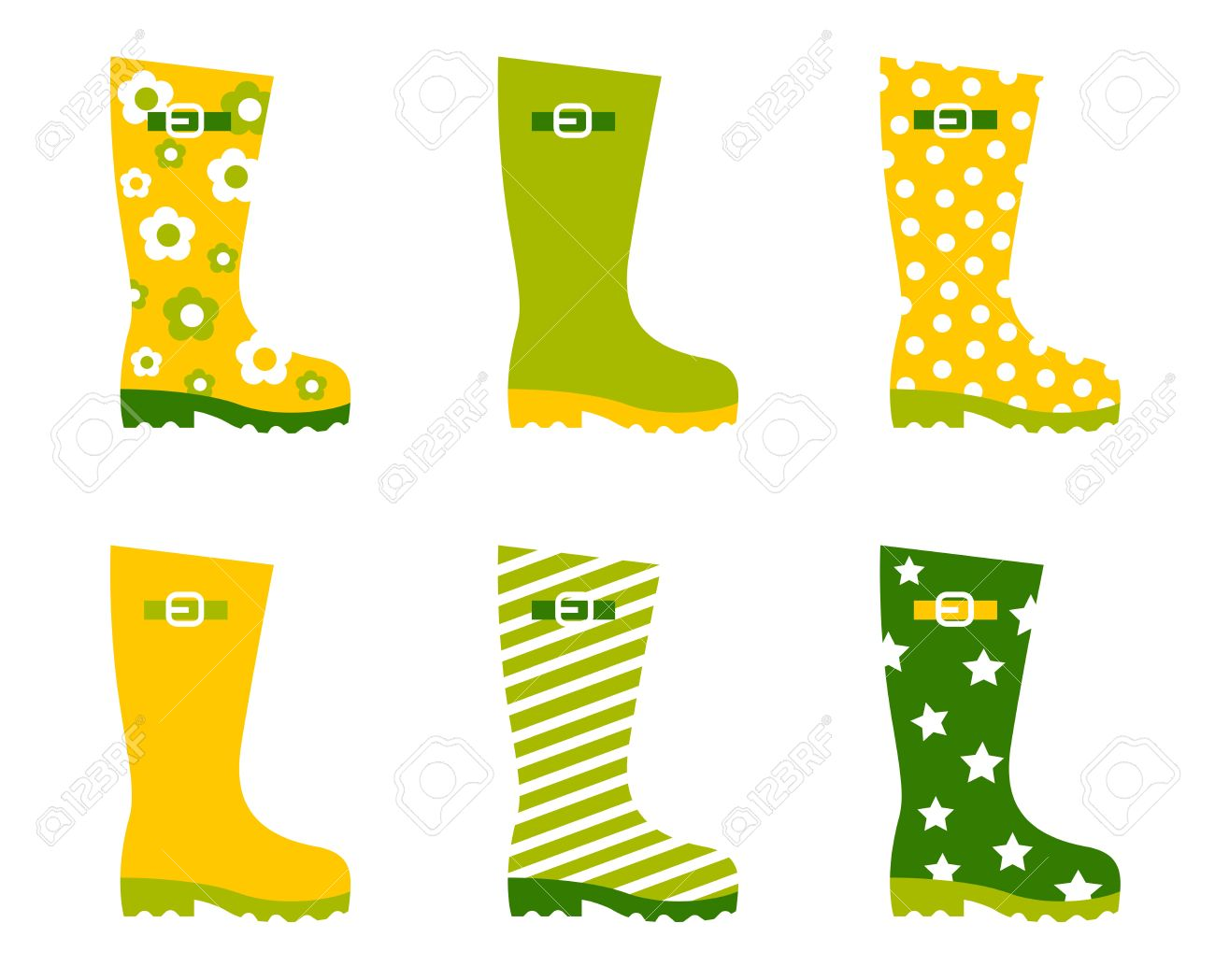 Wellington Spring Boots Collection. Vector Royalty Free Cliparts.