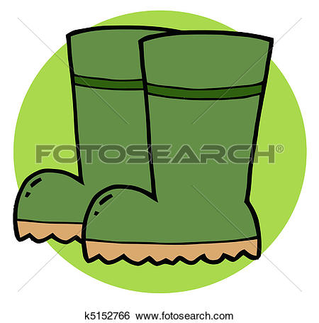 Clip Art of Pair Of Green Gardening Rubber k5152959.