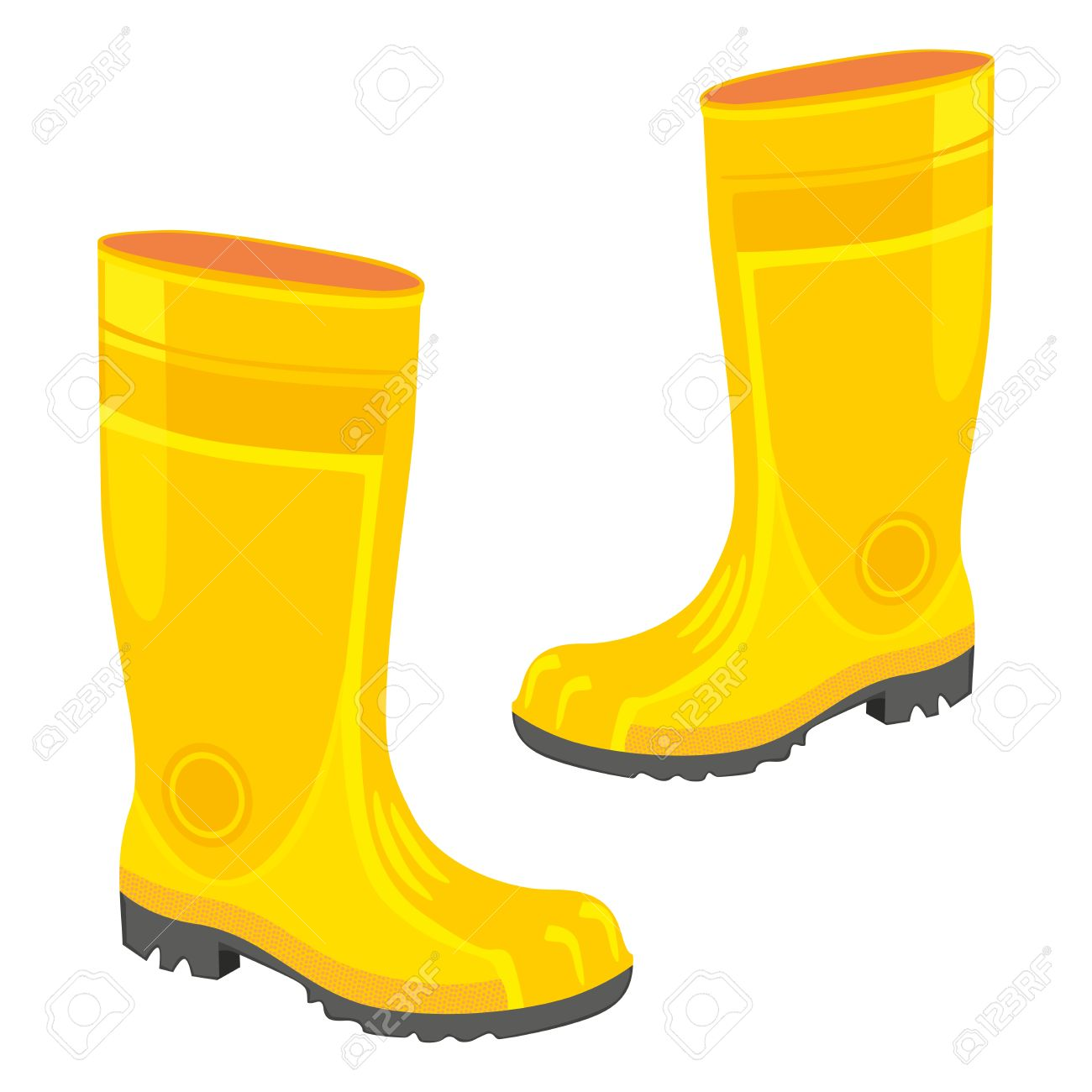 Fully Editable Illustration Of Isolated Rubber Boots Royalty Free.