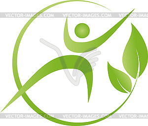 Person, leaves, fitness, health, wellness, logo.