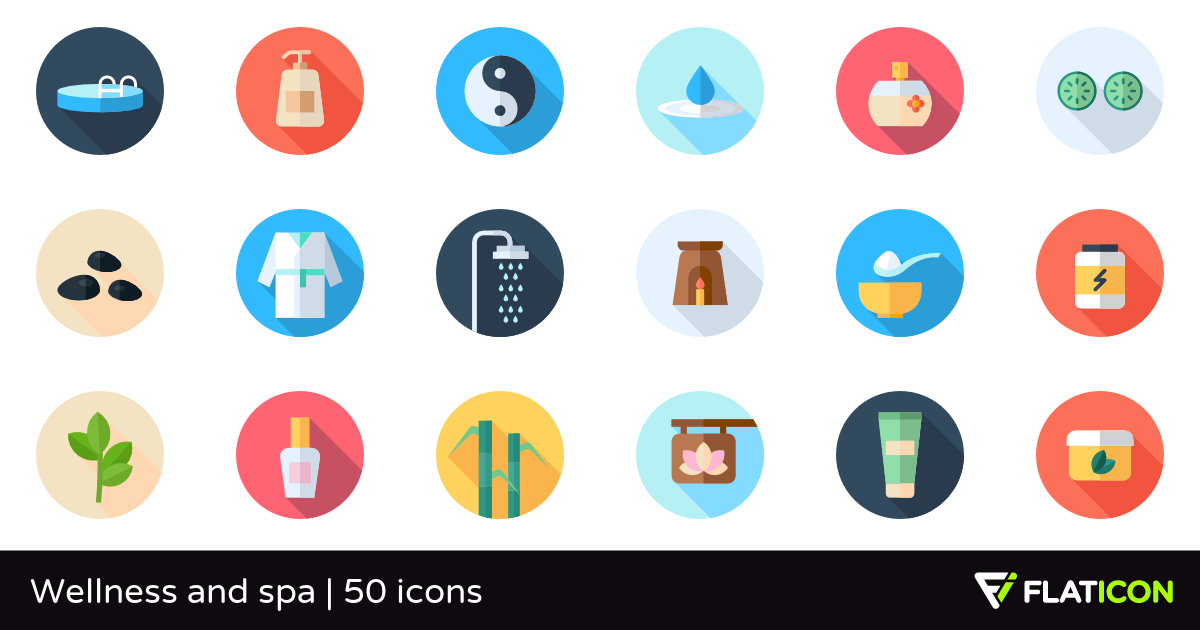 Wellness and spa 50 free icons (SVG, EPS, PSD, PNG files).