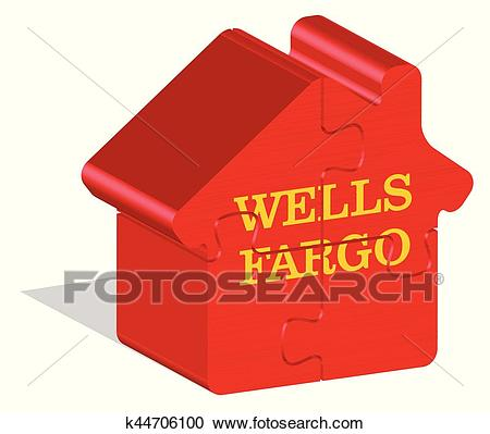 Wells Fargo logotype in 3d form on ground Clipart.