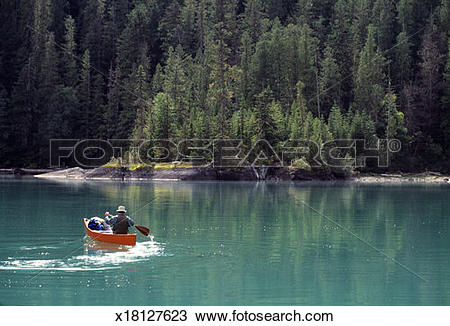 Stock Photo of Canada, BC, Wells Gray Provincial Park, Azure Lake.