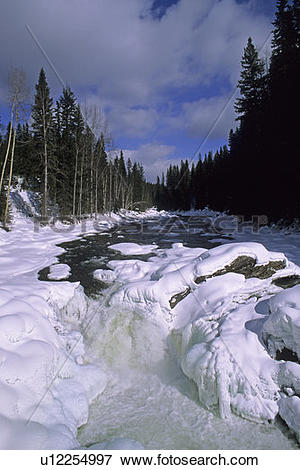 Picture of Dawson Falls in winter, Wells Gray Provincial Park.