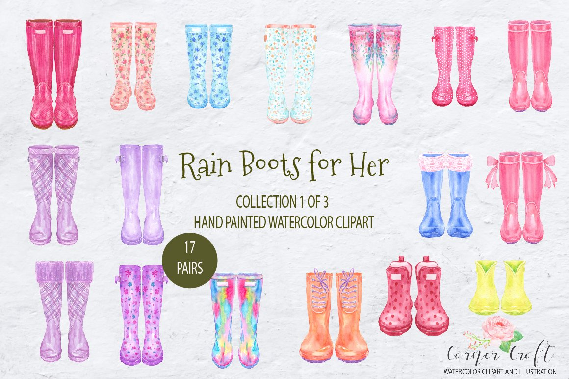 Watercolor Rain Boots for Her, Floral Wellies, wellington boot.