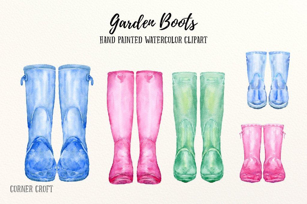 Garden boots clip art, watercolour wellington boots, wellies, rubber boots  for instant download.