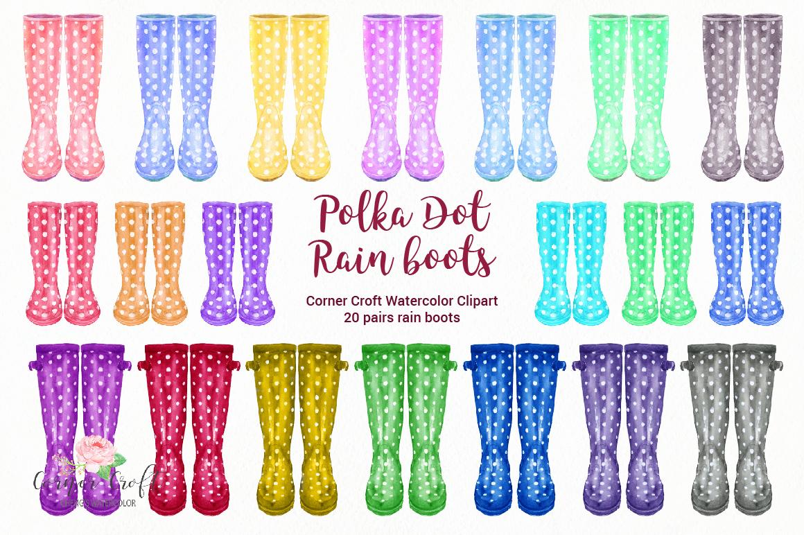 Watercolor Polka Dot Rain Boots, Polka Dot Wellies.
