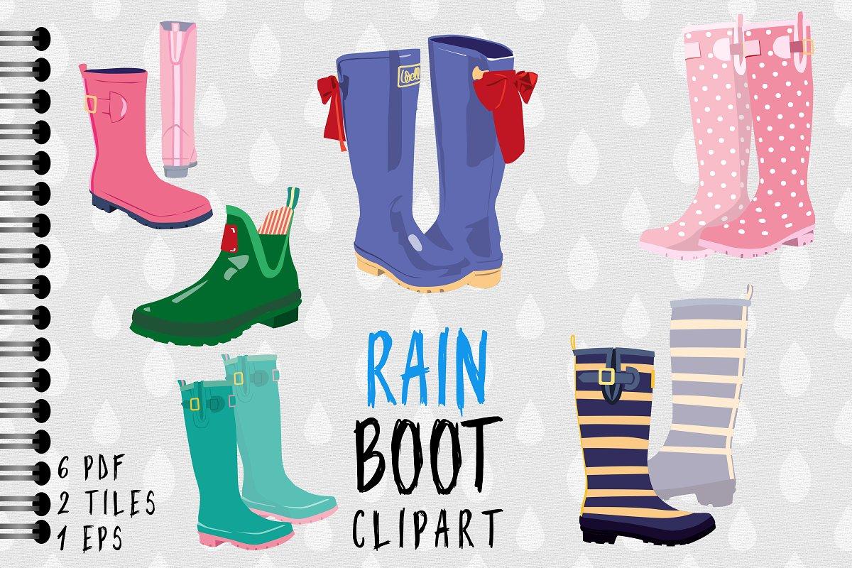 Rain Boot / Wellington Boot Clipart ~ Illustrations ~ Creative Market.