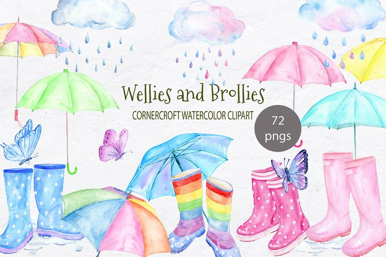 Wellies and brollies clipart, watercolor rain boots, umbrellas, clouds and  rain drops, butterflies for instant download.