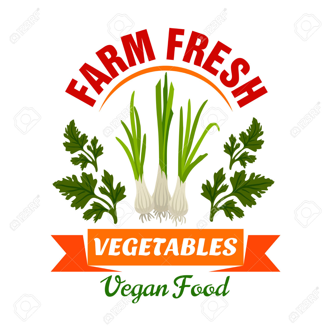 Onion, Leek, Welsh Onion. Farm Fresh Vegetable Product Emblem.