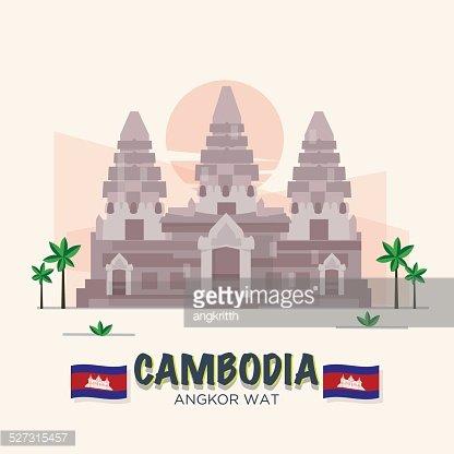 Angkor Kambodscha Wahrzeichen Weltwunder premium clipart.
