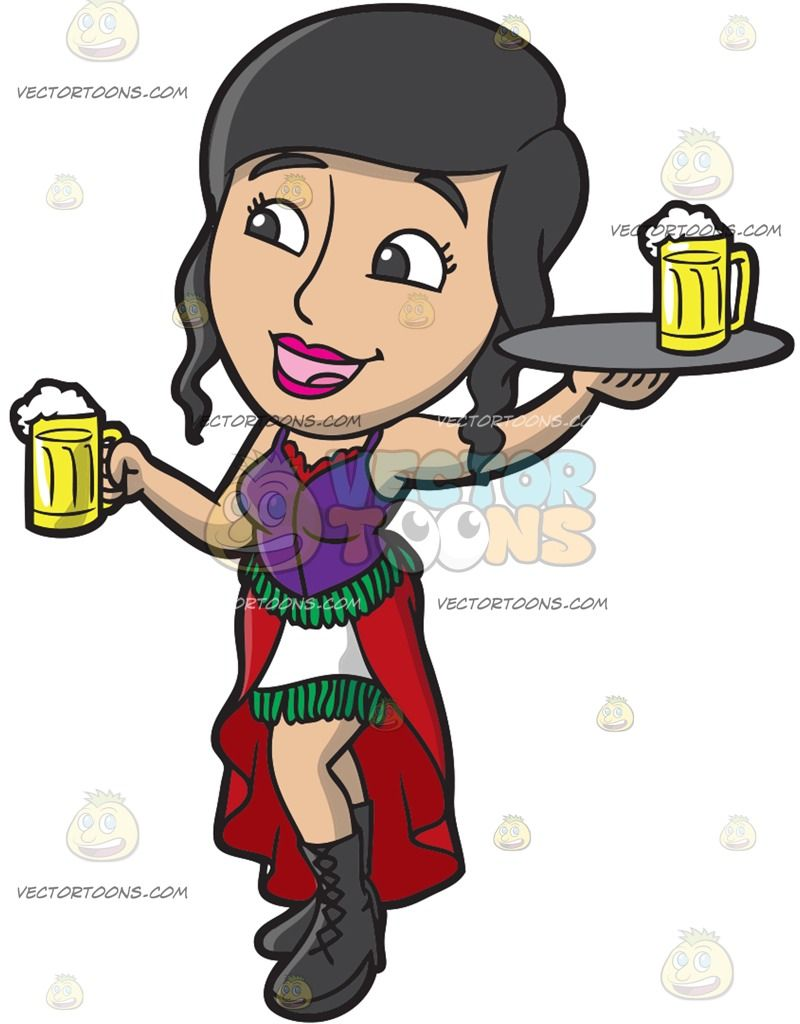 A Bar Wench Serving Mugs Of Beer: A woman with black hair wearing a.