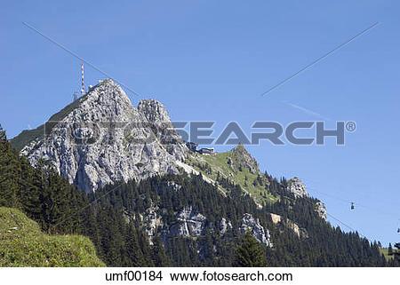 Stock Photo of Germany, Bavaria, Wendelstein, mountain range.