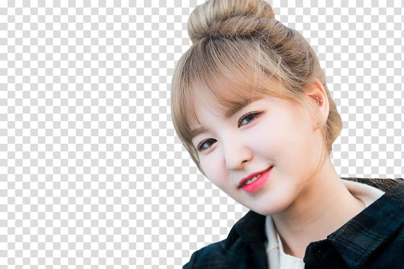 WENDY RED VELVET, woman in black collared top smiling.