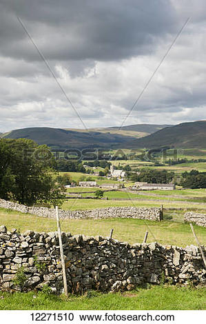 Stock Photography of Upper Wensleydale looking over Hawes from.