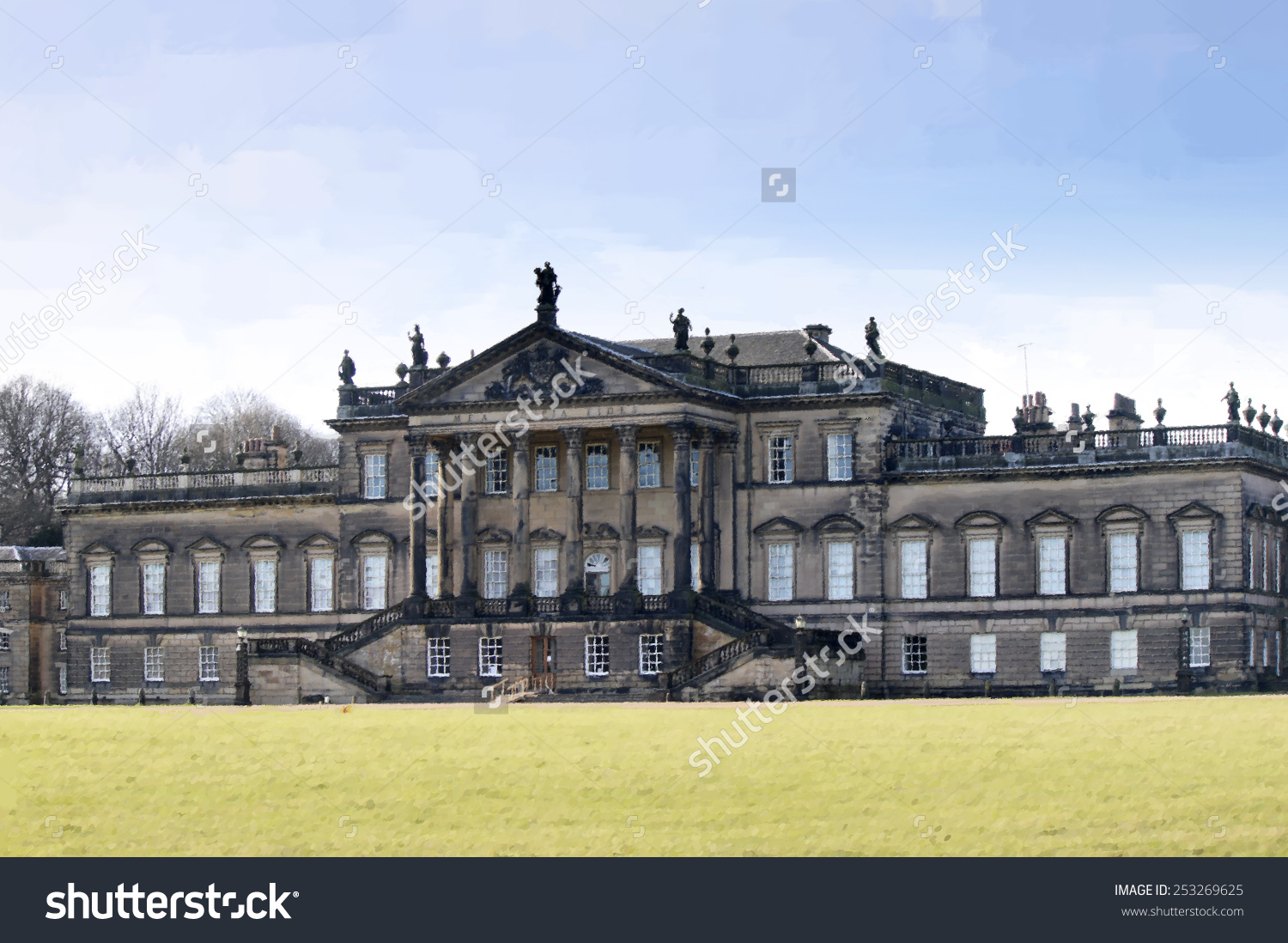 Digital Painting Of Wentworth Woodhouse Country House, A Grade 1.