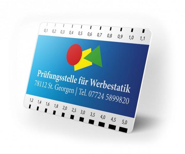 Risslineal Werbeartikel mit Logo Druck Rissbreitenlineal als Werbemittel  bedrucken weiss.