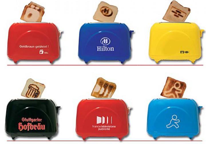 Logo Toaster bräunt das Logo im Toast Werbeartikel.
