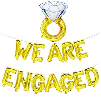We are Engaged Balloon Banner with Diamond Ring.