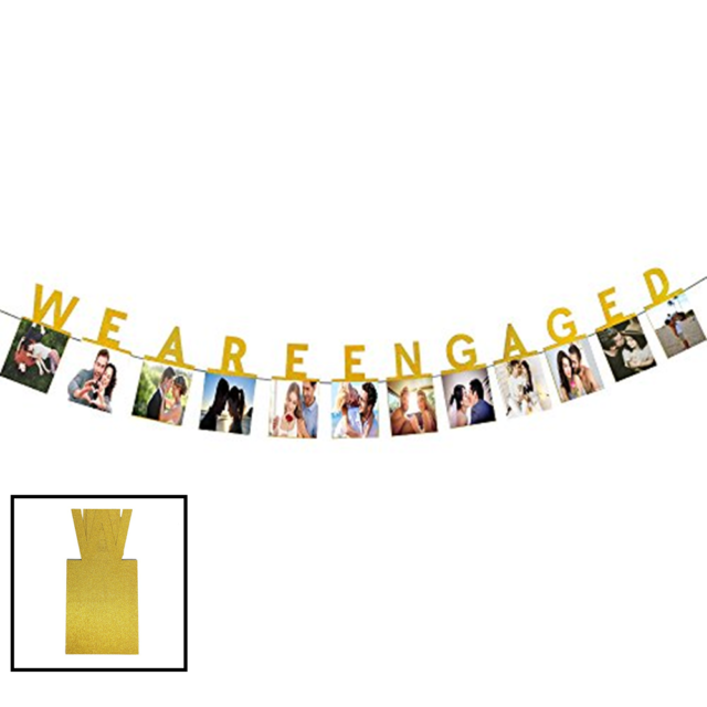 Hatcher Lee We Are Engaged Photo Banner Gold Foiled Wedding Sign Bridal Show.