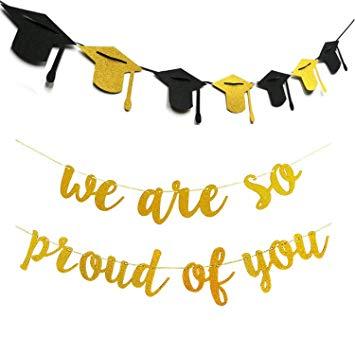 Amazon.com: 2 in 1 Congrats Grad Banner We Are So Proud Of.