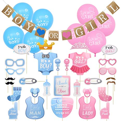 Meetory 48 pcs Baby Shower Photo Booth Props Gender Reveal Party  Decorations for Girls and Boys Birthday.