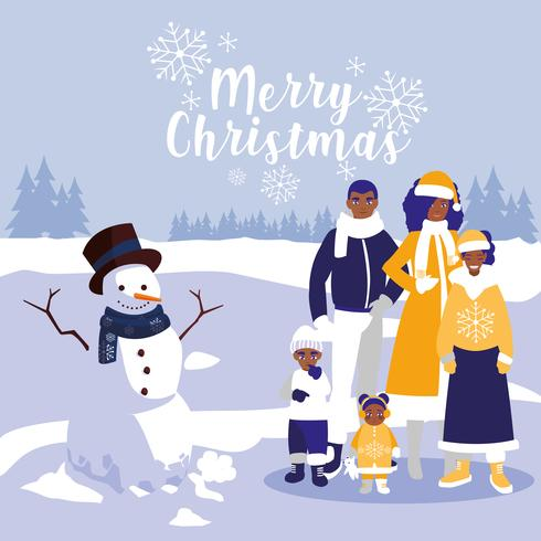 family and snowman in winter landscape.