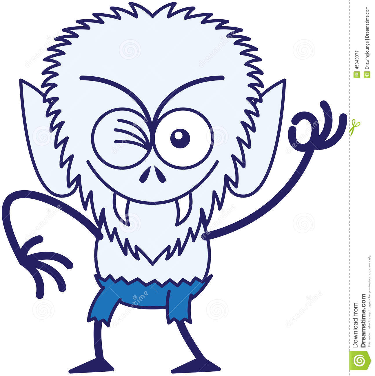Cool Halloween Werewolf Winking And Making An OK Sign Stock Vector.