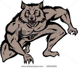 Crouching Werewolf Clip Art Image.