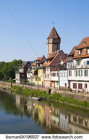 Picture of Spitzer Turm tower and river Tauber, Wertheim.