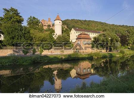 Stock Photo of River Tauber, Kittsteintor, Red tower and castle.