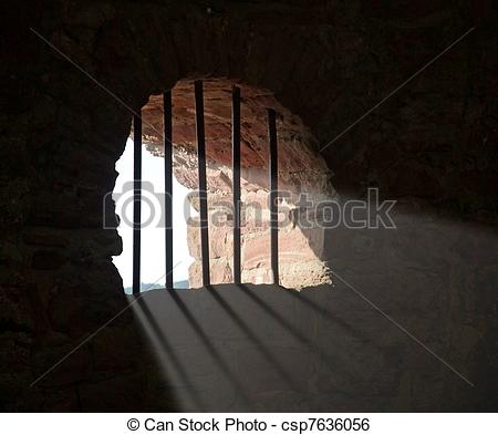 Stock Image of barred window at Wertheim Castle.