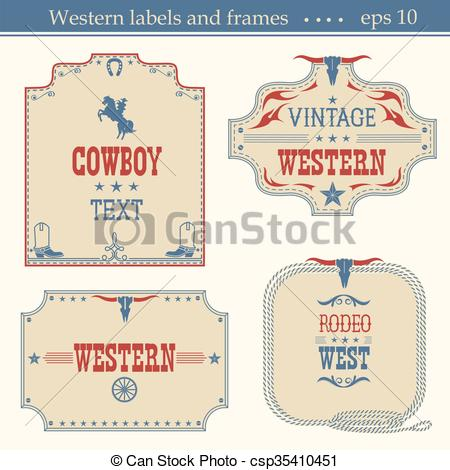 Clipart Vector of Wild wes tAmerican labels..