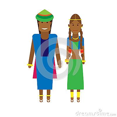 West Africa National Dress Stock Illustrations.