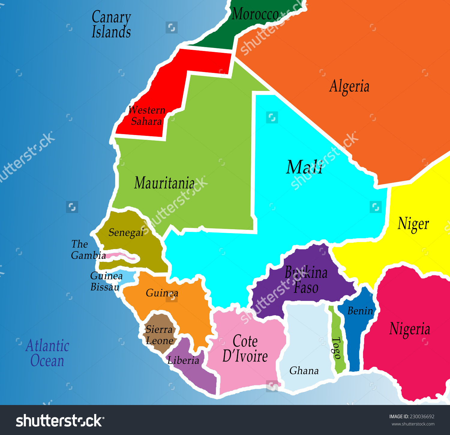 Political Map West Africa Colorful Bright Stock Illustration.