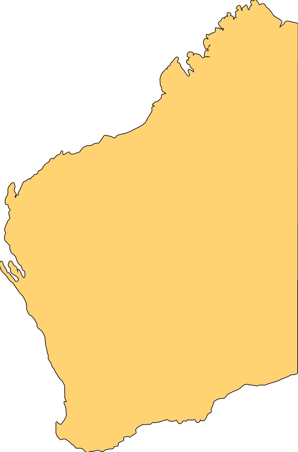 Blank Map of Western Australia.